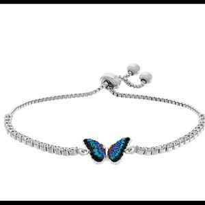 NWT Crystal Blue Butterfly Lariat Bracelet